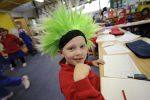 Student with carzy wig on Crazy Hair Day